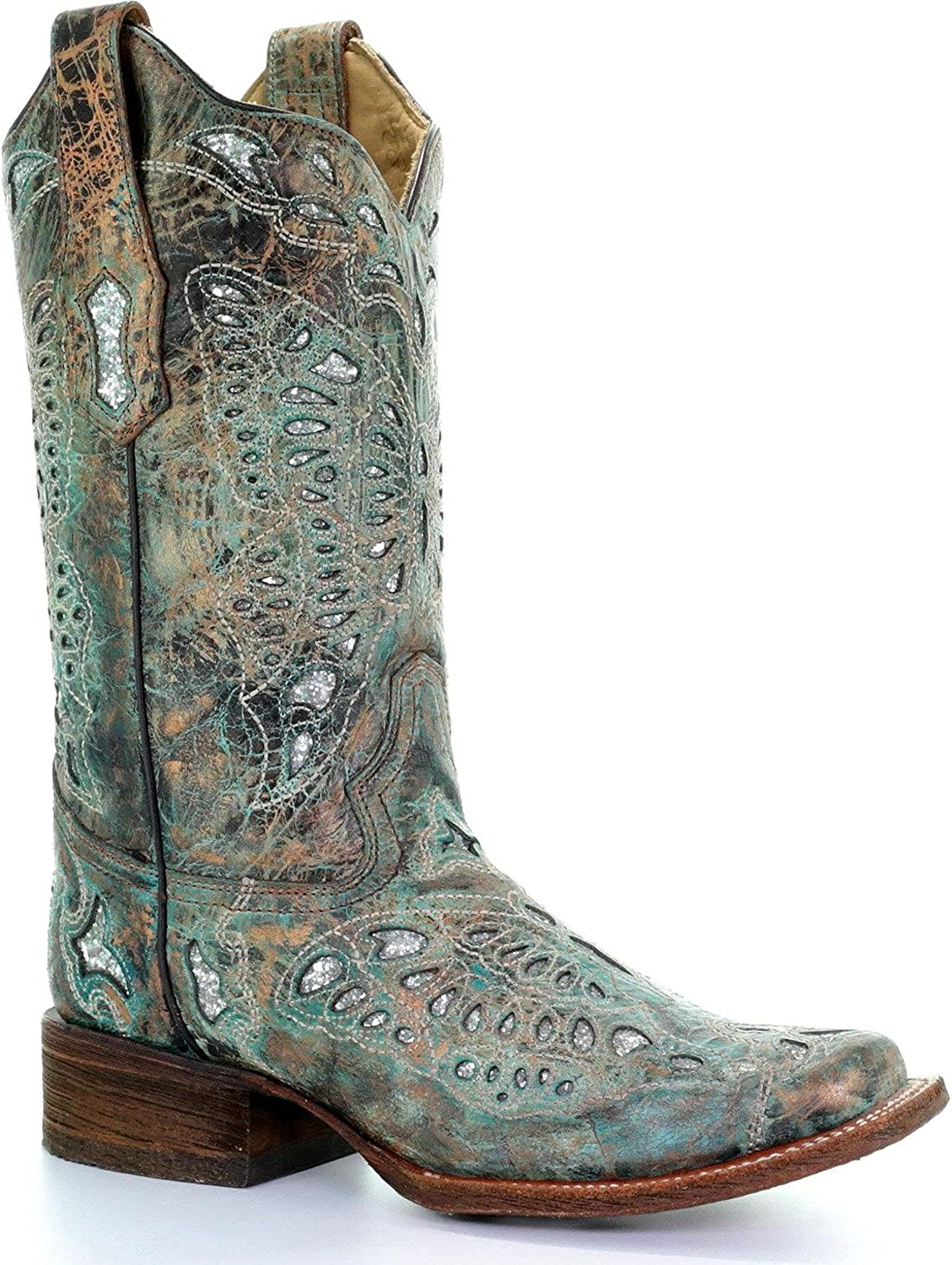 CORRAL Women's Metallic Bronze Glitter Butterfly Cowgirl Boot Square Toe - A2955