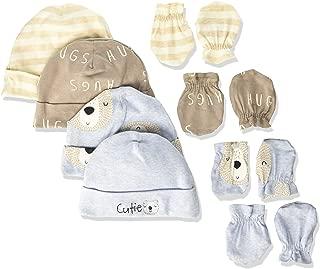 Baby Boys 8-Piece Organic Cap and Mitten Set