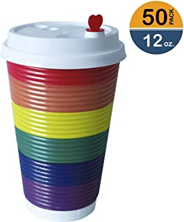 To Go Disposable Rainbow Cold Coffee Cups with Lids (50pcs) - 12oz Ripple Takeaway Paper Cups for Cold Drinks - Recyclable, Insulated Cups for Office Parties Home Travel - Only Cold Beverage