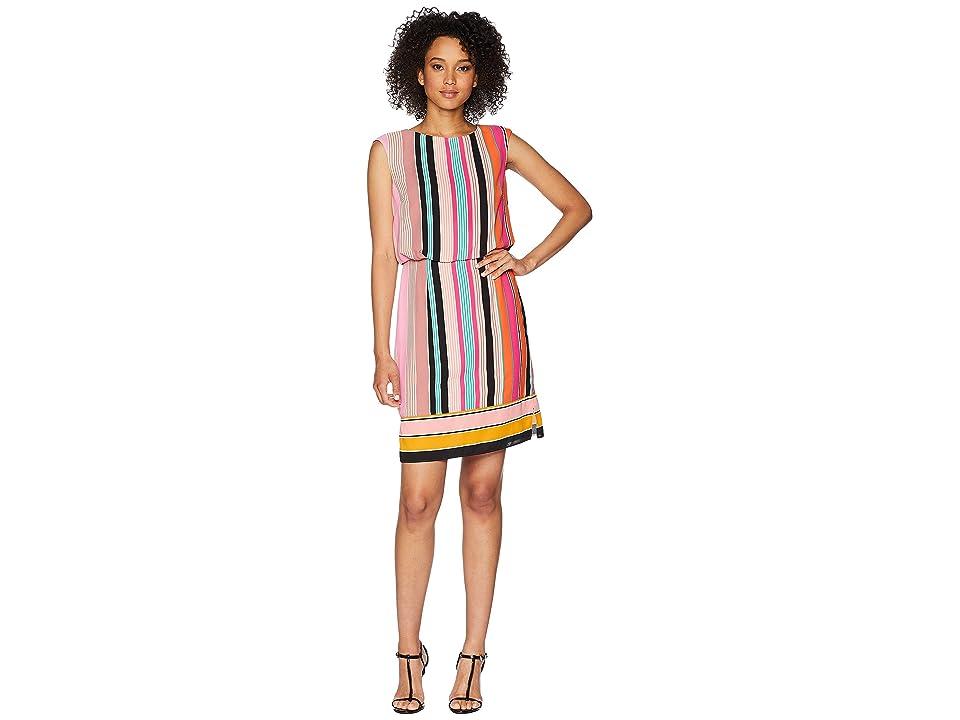 Adrianna Papell Fiesta Stripe Blouson Dress (Pink Multi) Women