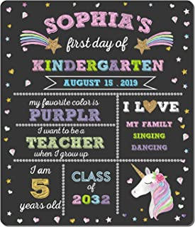 ORIENTAL CHERRY First Day of School Chalkboard - Unicorn Theme First Day of School Sign Photo Prop - 1st Day Back to School Sign - Reusable Erasable 12 x 16 inch - Use Chalk to Personalize