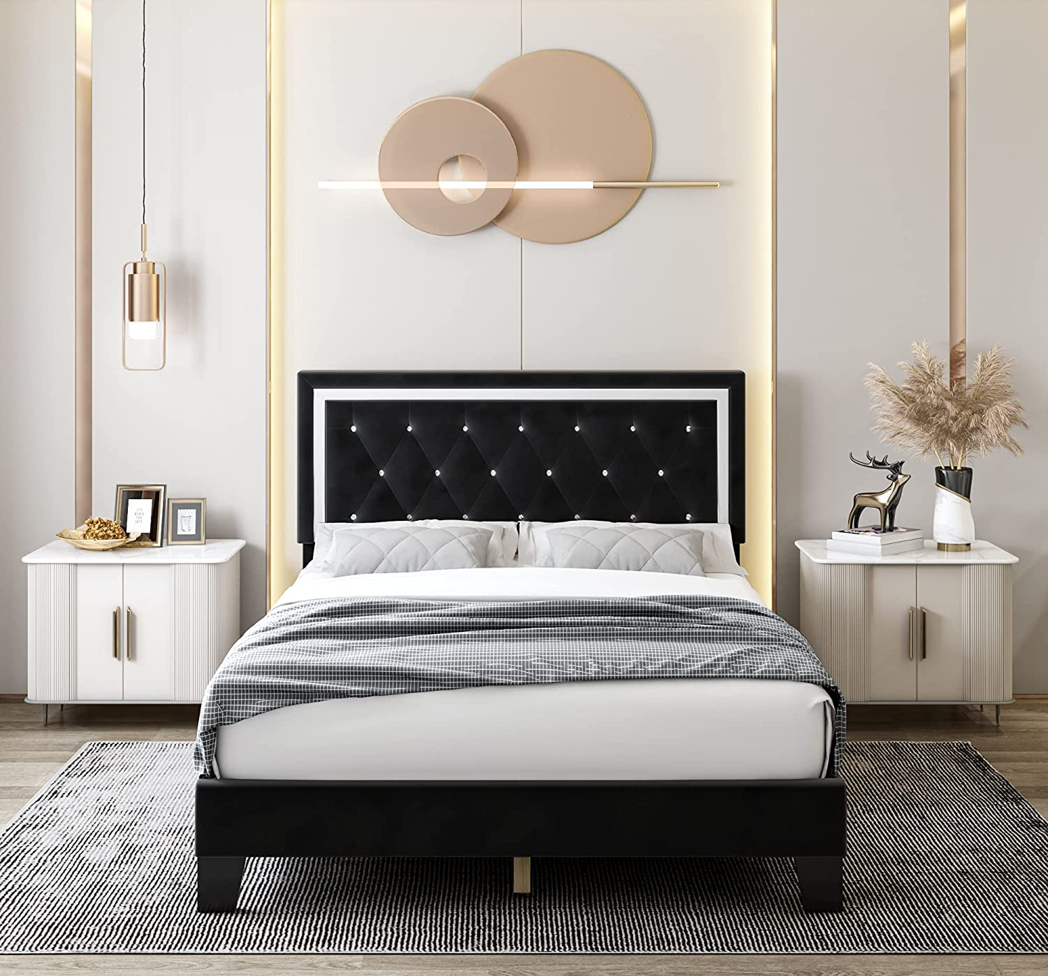 Queen Bed Frame, Diamond Tufted Upholstered Platform Bed Frame with Adjustable Headboard, Mattress Foundation with Wooden Slat Support, No Box Spring Needed, Easy Assembly (Queen, Black)