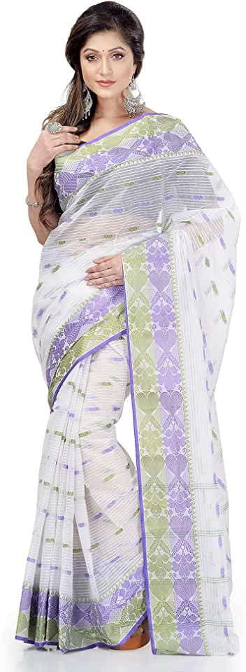 Indian dB DESH BIDESH Women Pure Cotton Traditional Handloom Bengal Tant Saree Noyonchuri Design Without Blouse Piece (White Purp... Saree