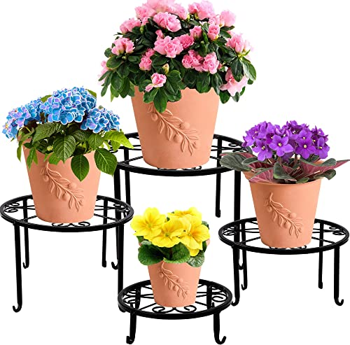 high quality yosager 4 Pack high quality Metal Plant Stands for Flower Pot, online Heavy Duty Potted Holder, Indoor Outdoor Metal Rustproof Iron Garden Container Round Supports Rack for Planter outlet online sale