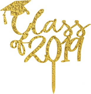 Class 2019 Acrylic Cake Topper, Congrats Grad Cake Topper, Graduation Party Decorations Supplies
