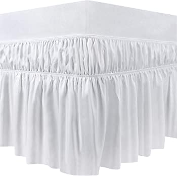 Utopia Bedding Elastic Bed Ruffle - Easy Wrap Around Dust Ruffle - 16 Inch Tailored Drop - Hotel Quality, Shrinkage and Fade Resistant (Full, White)