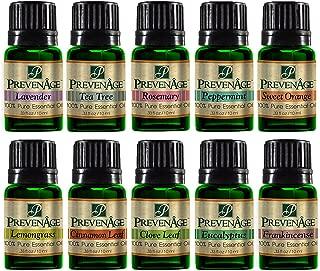Top Essential Oil Gift Set - Best 10 Aromatherapy Oil Cinnamon Leaf, Clove Leaf, Eucalyptus, Frankincense, Peppermint, Lavender, Lemongrass, Rosemary, Sweet Orange, Tea Tree 10 ml by Prevenage