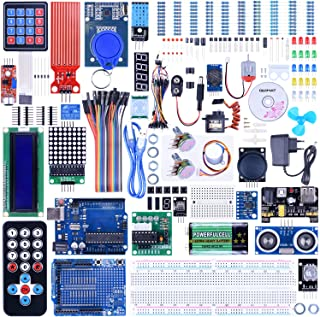Quimat Complete Ultimate Starter Kit Competible with Arduino IDE Projects, Includes Tutorial, UNOR3 Development Board,Expansion Board,LCD1602,HC-SR501,Ultrasonic Sensor Module QK27