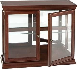 Double Door Curio w/ Mirror Back Wall - 2 Fixed Shelves - Chic Style Mahogany Finish