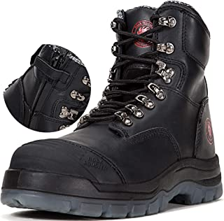 Work Boots for Men, 8 inch, YKK Zipper, Steel Toe, Slip Resistant Safety Oiled Leather Shoes, Static Dissipative, Breathable, Quick Dry, Anti-Fatigue, AK232Z AK245Z