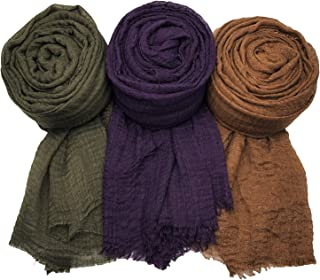 MANSHU 3PCS Women Soft Scarf Shawl Long Scarf, Scarf and Wrap, Big Head Scarf F