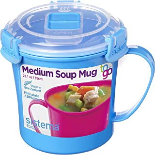 Sistema 211072ZS Microwave Soup Mug, 2.8 Cup, Medium, Blue