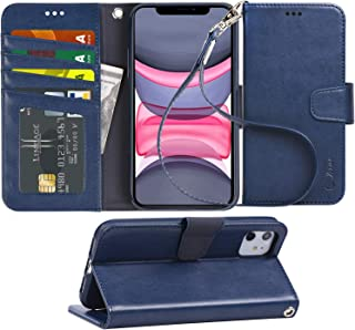 Arae Case for iPhone 11 PU Leather Wallet Case Cover [Stand Feature] with Wrist Strap and [4-Slots] ID&Credit Cards Pocket for iPhone 11 6.1 inch 2019 Released (Blue)
