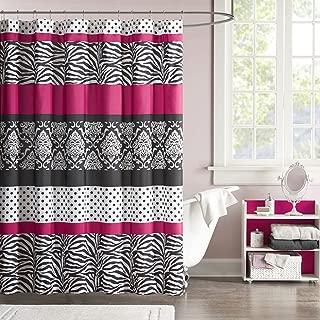 Mi-Zone Mizone MZ70-350 Reagan Microfiber Shower Curtain 72x72 Pink,