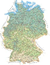 Gifts Delight Laminated 24x31 Poster: Large Detailed Road map of Germany with All Cities, Villages and airportsMaps