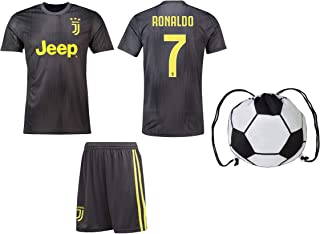 Cristiano Ronaldo Juventus #7 Youth Soccer Jersey Away Short Sleeve Shorts Kit Kids Gift Set