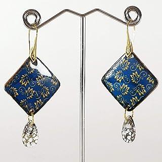 Pendientes de cerámica - VANITY - Pendientes para mujer, Joyas de porcelana, plata chapada en oro, Hecho en Italia, Bisute...
