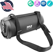 """Wireless Portable Bluetooth Boombox Speaker - 300 Watt Rechargeable Boom Box Speaker Portable Music Barrel Loud Stereo System with AUX Input, MP3/USB/SD Port, Fm Radio, 3"""" Tweeter - Pyle PBMSPG2BK"""