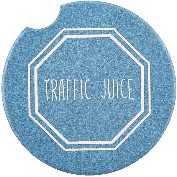 交通果汁蓝色 2 5 英寸陶瓷汽车饮料杯垫 2 包