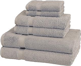 Amazon Brand – Pinzon Organic Cotton Bathroom Towels, 6-Piece Set, Marble Grey