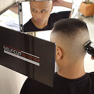 SELF-CUT SYSTEM Travel Version - Three Way Mirror for Self Hair Cutting with Height Adjustable Telescoping Hooks and Free Educational Mobile App