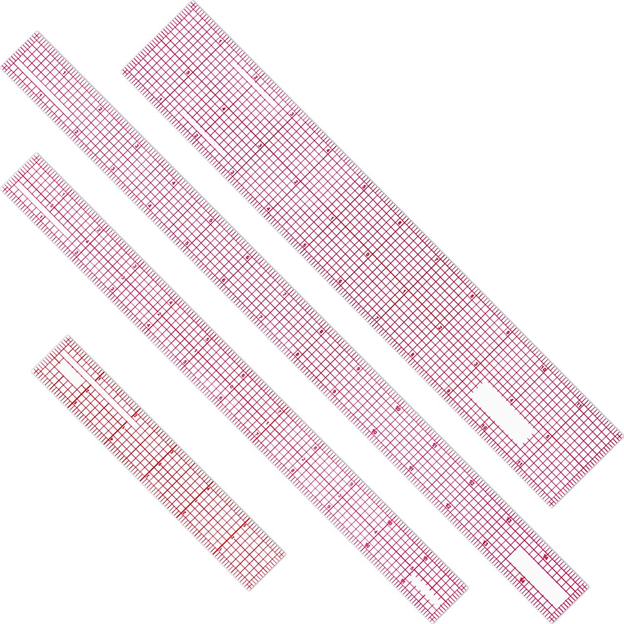 4 Pieces Beveled Transparent Ruler Plastic French Inch Ruler Tool Ruler Set for Measuring Clothes Design, 6 Inch, 12 Inch, 15 Inch
