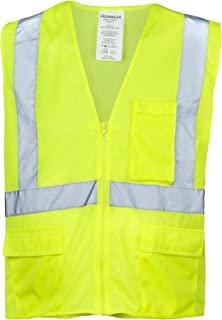 Ironwear 1284FR-LZ-3-LG ANSI Class 2 Flame Retardant Polyester Mesh Safety Vest with Zipper and 2