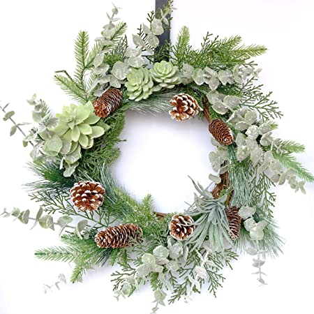 YNYLCHMX Christmas Wreath 18 Green Eucalptus Leaves with Small Pinecones Modern Farmhouse Wreath for Front Door Hanging Window Wall Decoration Winter Garland for Festival Party Celebration