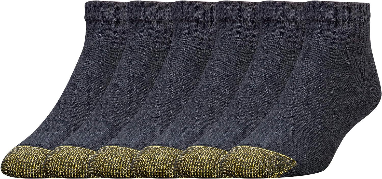 Gold Toe Men's Cotton Quarter Athletic Sock Six-Pack (3-pk (18 pair) 10-13, Black)