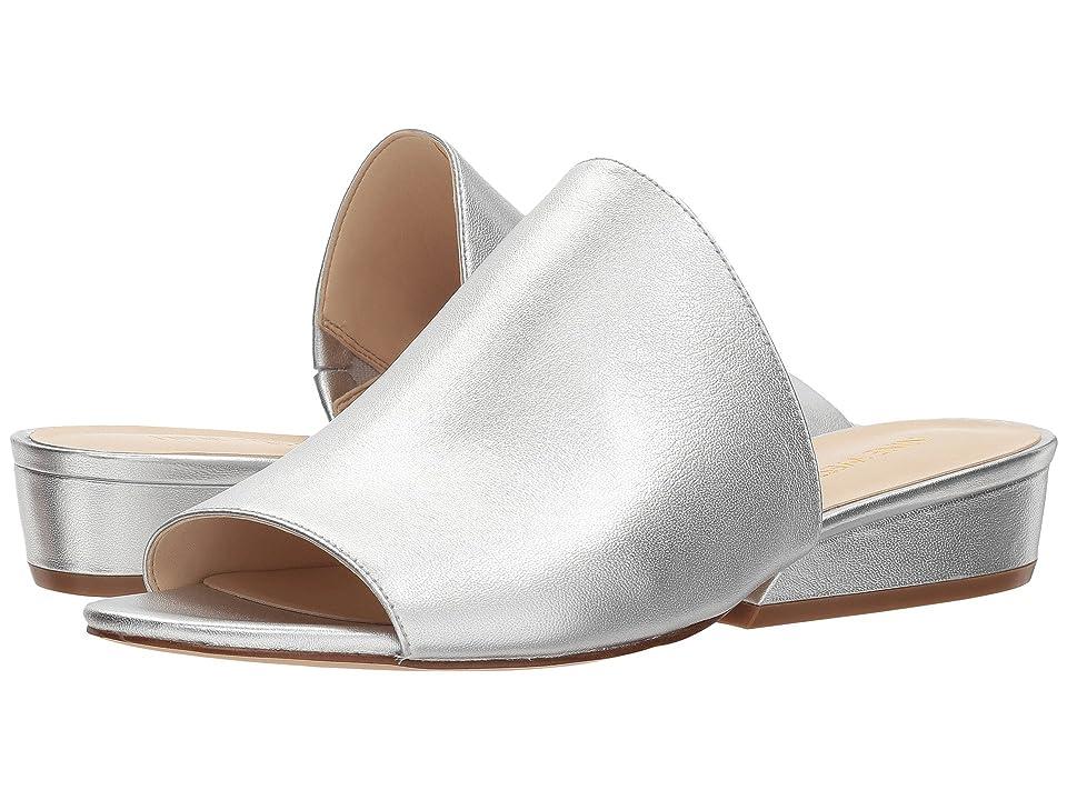 Nine West Lynneah Slide Sandal (Silver Soft Metallic Nappa) Women's Sandals