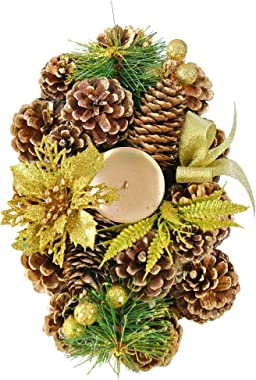 """Home-X Golden Pinecone Christmas Wreath Candle Holder, Artificial Oval Advent Wreath, Winter Home Decorations, (10"""" x 6"""")"""