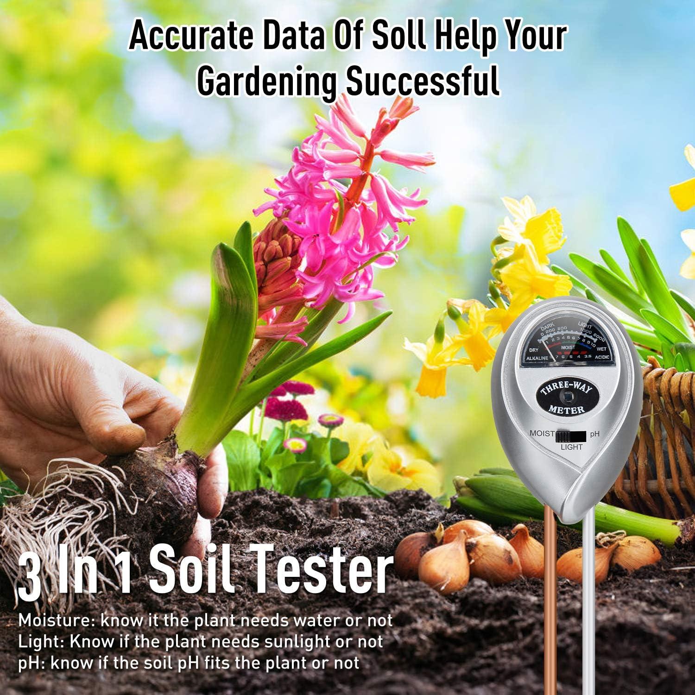 misuratore di umidit/à per piante pH intensit/à prato 3 in 1 terreno Migimi Tester per terreno tester per terreno arancione giardino umidit/à misuratore di umidit/à del terreno senza batterie
