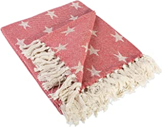 DII Woven Throw Blanket with Decorative Fringe, Star, Tango Red