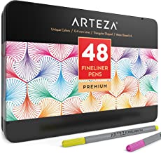 Arteza Fineliner Fine Point Pens, Fine Tip Markers 48 Assorted Colors (0.4mm Tips, Set of 48)