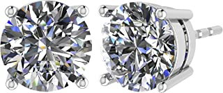 NANA Stud Earrings-Sterling Silver Round Cut Swarovski Zirconia .30ct to 8.00ct twt. Hypoallergenic