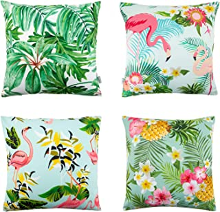 Whoyun Throw Pillow Covers, Set of 4 Peach Skin Decorative Summer Square Cushion Case for Sofa Bedroom Couch Car 18'' x 18''