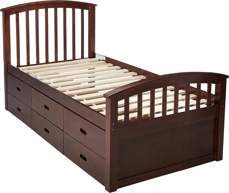Donco Kids 6 Drawer Storage Bed, Twin, Dark Cappuccino
