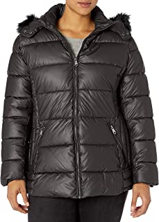 Women's Puffer Jacket with Faux Leather