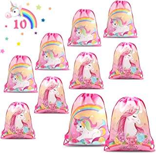 Phogary 10 Pack Unicorn Drawstring Bag for Kids, Girls Gift Drawstring Backpack Birthday Party Supplies Goody Favor Bags, Double Side Printed