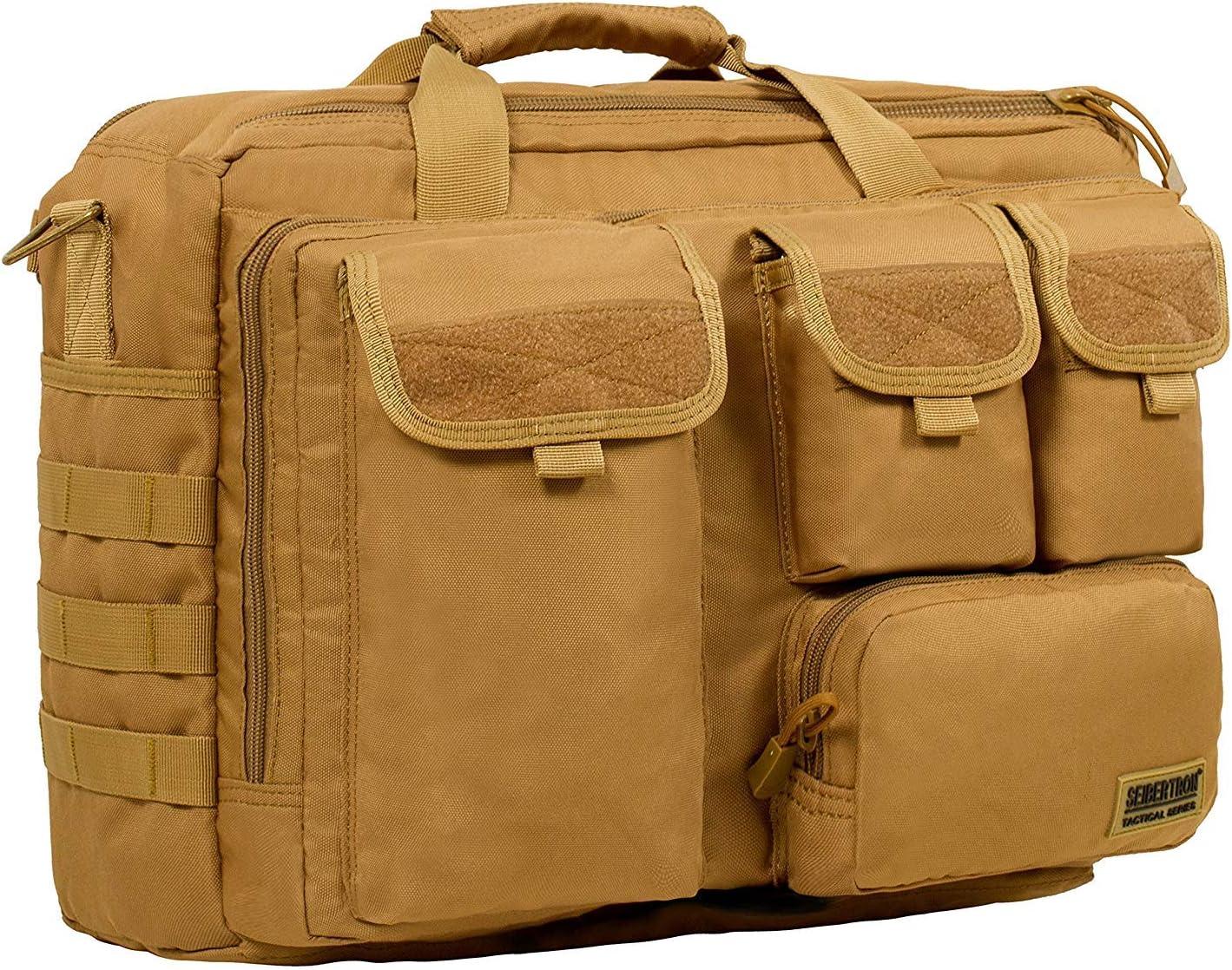 Seibertron Pro-Multifunction Shoulder Messenger Bag Fit for 17.3 Laptop Black
