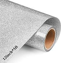 "12"" x 5feet Silver Glitter Heat Transfer Vinyl, Iron on Vinyl HTV Rolls for Cricut Shirts Clothing"