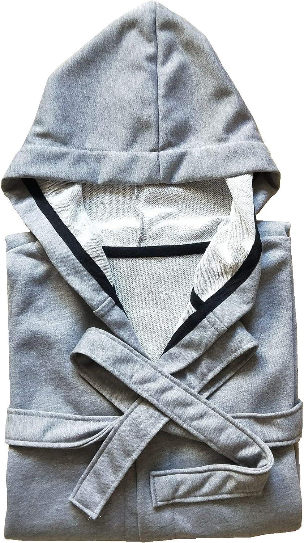 Mens Hooded Sweatshirt Bathrobe Sports Style Robes Grey