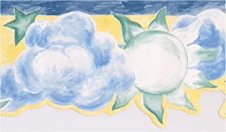 Wallpaper Border - Sun Clouds Stars Moon Yellow Scalloped Kids Wall Border Retro Design, Prepasted Roll 15 ft. x 6 in.