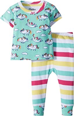 Hatley Kids - Roly Poly Unicorns Short Sleeve Pajama Set (Infant)