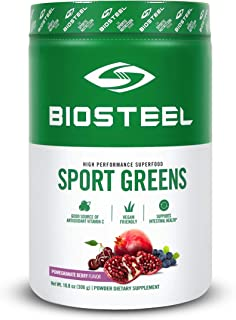 Biosteel Sports Greens - Powdered Greens Antioxidant Superfood, Vegan and Sugar Free, Pomegranate Berry, 30 Servings