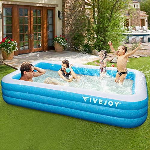 lowest FiveJoy Family Inflatable Swimming Pool, popular 120 X 72 X 22 Inch Rectangular Full-Sized Lounge Pool for Kids, Adults, Babies, Toddlers, Outdoor, lowest Garden, Backyard,Summer Water Party, Ages 3+ online sale
