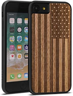 JuBeCo for iPhone 8/7/6 Case, Slim Wood Protective Cover Case for iPhone 8/7/6s,Handmade Natural Solid Wood Case, Bamboo Case (us Flag)