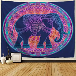 BJHAP Teal Elephant Tapestry Blue and Purple Mandala Tapestry Wall Hanging Dorm Decor Fabric Psychedelic Hippie Flower Tapestry Bohemian Bedspread Bedding Bed Cover Picnic Blanket 60x51 Inches