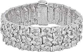 The Bling Factory 7mm Rhodium Plated Flattened Smooth Cuban Curb Link Chain Bracelet Jewelry Cloth /& Pouch