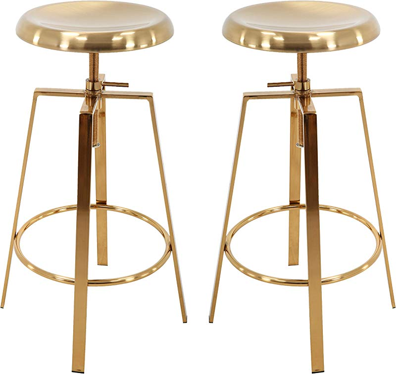 Brage Living Backless Round Seat Adjustable Height Bar Stools Set Of 2 Gold